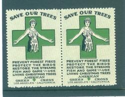 "Vintage US Green Cross ""Save Our Trees"" Poster Stamp Pair, Los Angeles, California - Cinderellas"