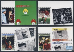 Gibraltar 2002 Mi 1006 /9 YT 1007 /10 ** Mobby Moore (1941-1993) - Englands Victory 1966 / Fußball-Weltmeister 1966 - Wereldkampioenschap