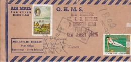 AIRMAIL 1969 OHMS. CIRCULEE COCK ISLAND TO USA. AVEC AUTRES MARQUES.-BLEUP - Cookeilanden