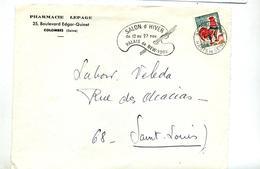 Devant De Lettre Flamme Colombes Salon D'hiver Peinture - Marcophilie (Lettres)