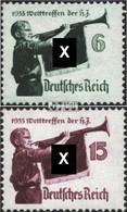 Deutsches Reich 584y-585y (kompl.Ausg.) Waagerechte Gummiriffelung Gestempelt 1935 Hitler-Jugend - Gebraucht