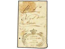 332 ESPAÑA. 1837. <B>CARLISTAS. </B>MONDRAGON A YCHARO. Marca<B> COMISION/DE DISTRITOS DEL/ALTA/GUIPUZCOA. </B> - Stamps
