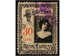 428 ESPAÑA. <B>POSTAL EXPRESS. BARCELONA. 30 Cts.</B> Negro Y Rojo, Mat. <B>OVALADO CON CICLISTA</B>, Leves Adelgazamien - Stamps