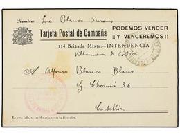 789 ESPAÑA GUERRA CIVIL. 1937. VILLANUEVA DE CORDOBA A CASTELLÓN. Tarjeta Postal De Campaña De La 114 Brigada Mixta. Mar - Stamps
