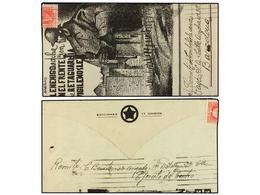 791 ESPAÑA GUERRA CIVIL. 1938. GUADALAJARA A BARCELONA. Carta-sobre Ilustrado Circulado Desde El Frente, Sellos Rotos Al - Stamps