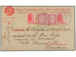 794 ESPAÑA GUERRA CIVIL. 1938. Sobre Carta Del S.R.I. Escrito Desde El Frente (Granada-Almería) Con Franqueo De <B>25 Ct - Stamps