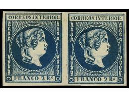 850 (*) FILIPINAS. Ed.14 (2). <B>2 Reales</B> Azul. Pareja Horizontal. MAGNÍFICA. Muy Raros Los Múltiples De éste Sello. - Stamps