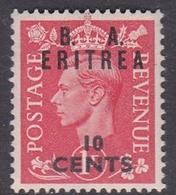 Italy-British Occupation B.  A.Eritrea Sassone 15 1950 King George VI Overprinted 10c Red, Mint Never Hinged - British Occ. MEF