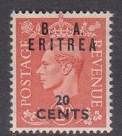 Italy-British Occupation B.  A.Eritrea Sassone 16 1950 King George VI Overprinted 20c Orange, Mint Never Hinged - British Occ. MEF