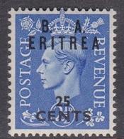 Italy-British Occupation B.  A.Eritrea Sassone 17 1950 King George VI Overprinted 25c Ultramarine, Mint Never Hinged - British Occ. MEF