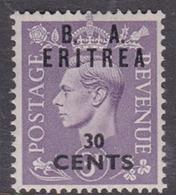 Italy-British Occupation B.  A.Eritrea Sassone 18 1950 King George VI Overprinted 30c Violet, Mint Never Hinged - British Occ. MEF