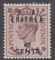 Italy-British Occupation B.  A.Eritrea Sassone 19 1950 King George VI Overprinted 40c Brown, Mint Never Hinged - British Occ. MEF
