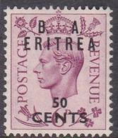 Italy-British Occupation B.  A.Eritrea Sassone 20 1950 King George VI Overprinted 50c Lilac, Mint Never Hinged - British Occ. MEF