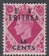 Italy-British Occupation B.  A.Eritrea Sassone 21 1950 King George VI Overprinted 65c Rose, Mint Never Hinged - British Occ. MEF