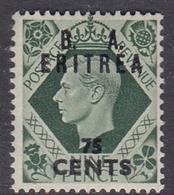 Italy-British Occupation B.  A.Eritrea Sassone 22 1950 King George VI Overprinted 75c Green, Mint Never Hinged - British Occ. MEF