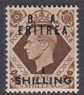 Italy-British Occupation B.  A.Eritrea Sassone 23 1950 King George VI Overprinted One Shilling Brown, Mint Never Hinged - British Occ. MEF