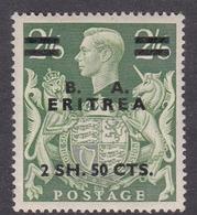 Italy-British Occupation B.  A.Eritrea Sassone 24 1950 King George VI Overprinted 2 Sh.50 Cents Yellow Green, MNH - British Occ. MEF