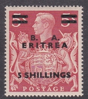 Italy-British Occupation B.  A.Eritrea Sassone 25 1950 King George VI Overprinted Five Shillings Red, Mint Never Hinged - British Occ. MEF