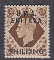 Italy-British Occupation B.M.A.Eritrea Sassone 10 1948 King George VI One Shilling On 1s Brown, Mint Hinged - British Occ. MEF