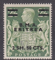 Italy-British Occupation B.M.A.Eritrea Sassone 11 1948 King George VI 2 SH.50 Cts On 2.6 SH. Green Yellow, Mint Hinged - British Occ. MEF