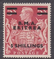 Italy-British Occupation B.M.A.Eritrea Sassone 12 1948 King George VI Five Shilling On 5s Red, Mint Never Hinged - British Occ. MEF