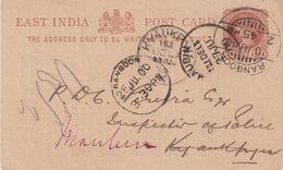 INDE ANGLAISE : ENTIER POSTAL . REPIQUE DE RANGOON . REEXP A MAUBIM . 1900 . - 1882-1901 Empire