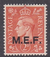 Italy-British Occupation M.E.F. Sassone 7 1943 King George VI 2d Light Orange, London Printing, Mint Never Hinged - British Occ. MEF