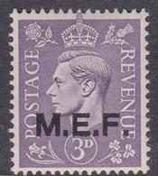 Italy-British Occupation M.E.F. Sassone 9 1943 King George VI 3d Light Violet, London Printing, Mint Never Hinged - British Occ. MEF