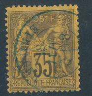 N°93 CACHET A DATE BLEUE ETRANGER. - 1876-1898 Sage (Type II)