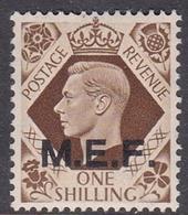 Italy-British Occupation M.E.F. Sassone 13 1943 King George VI One Shilling Brown, London Printing, Mint Never Hinged - British Occ. MEF