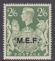 Italy-British Occupation M.E.F. Sassone 14 1943 King George VI Two Shillings And 6p Green Yellow, London Printing, MNH - British Occ. MEF