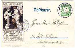 1905 5Pf Ganzsachenkarte Nürnberger Jubiläumsausstellung Nach Köln - Bayern