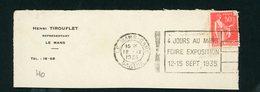 """FRANCE -  FLAMME """"4 JOURS AU MANS FOIRE EXPOSITION 12-15 SEPT 1935"""" DE LE MANS GARE 1935 - Marcophilie (Lettres)"""