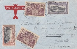AIRMAIL 1937 CIRCULEE CONGO TO GAND(BELGIQUE) VIA BRUSSEL.-BLEUP - Airmail: Covers