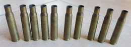 Lot De 10 Pièces:  CARTOUCHE  /   DOUILLE  CALIBRE 12.7  -  NEUTRALISÉES - Armes Neutralisées