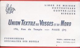 Buvard Ancien UNION TEXTILE Des VOSGES Et Du MIDI à PARIS -illustré D'une Fileuse Qui File Au Rouet - - Textilos & Vestidos