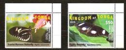 Tonga 2015 Yvertn° LP PA 307-308 *** MNH Cote 130 Euro Faune Papillons Vlinders Butterflies - Tonga (1970-...)