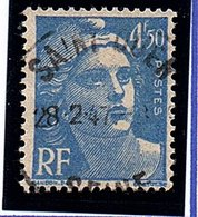 Type MARIANNE DE GANDON - 4,50F Bleu N° 718A Obl. - France