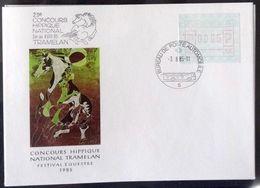 Suisse 1985: Cachet Artistique De Hans Erni Pro Avec étiquette FRAMA O CONCOURS HIPPIQUE 3.8.85 TRAMELAN - Horses