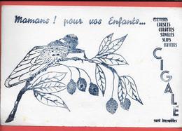 Buvard Ancien Rare  Marque LA CIGALE  -pour Enfants CORSETS,CHEMISES,CULOTTES,SANGLES,SLIPS,BAVOIRS...rameau D'Olivier - Textilos & Vestidos