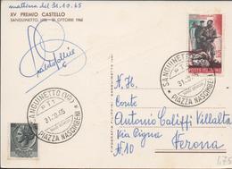 3285, Postal  Publicitaria Sanguietto 1965, Piazza Nascimbeni, XV Premio Castello - 6. 1946-.. República