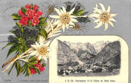 [DC12024] CPA - COURMAYEUR ET LA CHAINE DU MONT BLANC- RFIORI - ARGENTATA IN RILIEVO - RARA Viaggiat 1915 - Old Postcard - Italia