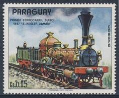 Paraguay 1972 Mi 2377 ** Erste Schweizer Dampflokomotive Kesler Limmat (1847) / Steam Locomotive / Locomotive à Vapeur - Treinen