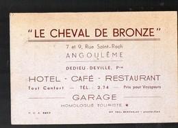 Angoulème (16 Charente) Carte Commerciale LE CHEVAL DE BRONZE  (Hotel Restaurant) (PPP12894) - Publicités