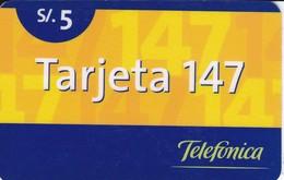 TARJETA DE PERU DE TELEFONICA DE 5 SOLES TARJETA 147 - Peru