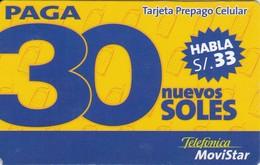 TARJETA DE PERU DE TELEFONICA MOVISTAR DE 30 NUEVOS SOLES - Peru