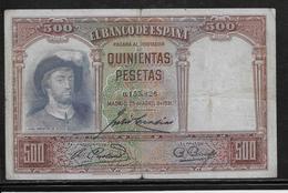 Espagne - 500 Pesetas - 1931 - Pick N°84 - TB - [ 2] 1931-1936 : Repubblica