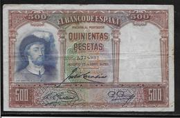 Espagne - 500 Pesetas - 1931 - Pick N°84 - TB - [ 2] 1931-1936 : Republic
