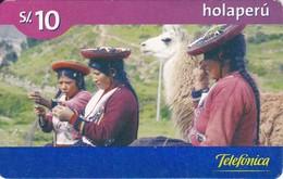 TARJETA DE PERU DE TELEFONICA HOLAPERU DE 10 SOLES DE TIRADA 255024 Y FECHA 03/06 (LLAMA) - Peru