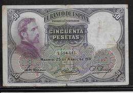 Espagne - 50 Pesetas - 1931 - Pick N°82 - TB - [ 2] 1931-1936 : Repubblica
